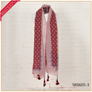 wholesale fashion girl red long tassel shawl hijab cotton vietnam pashmina scarf