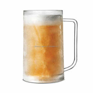 Double wall freeze frosted beer mug ice cup with handle
