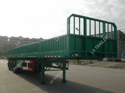 60Tons flatbed side wall open tri-axle light cargo truck trailer/vehicle for sale