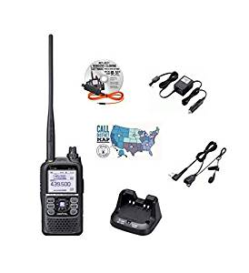 Icom ID-51A PLUS Radio - Programming Software/Cable - Icom HM-166LS Earphone Mic - Icom Car Charger - Icom Desktop Charger and Ham Guides Pocket Reference Card Bundle!