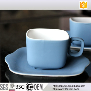 Special Design Rubber Painting Porcelain Square Coffee Cup And Saucer Set Fine Bone China Espresso