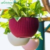 Dia 10 in. Round Plastic Resin Garden Plant Hanging Planters Decor Pots,Brown