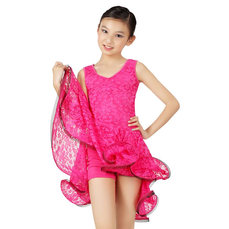 0c1d666241ae Get Quotations · Rose Red/ Blue Color Dresses Children's Latin Dress Girl  V-neck Latin Dance Skirt