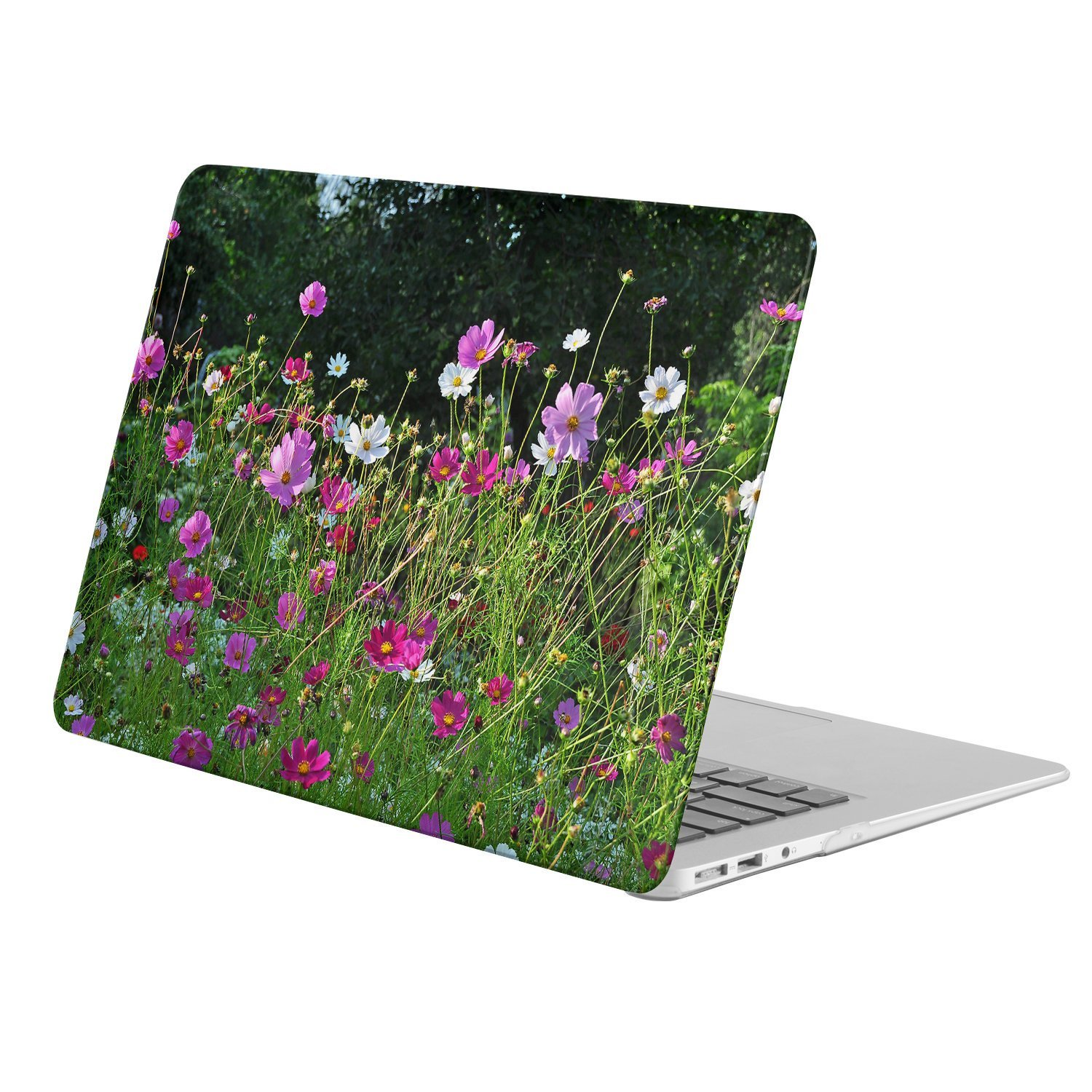 """KINGCASE - Macbook 12"""" with Retina Display ( Model A1534 - Release 2015) - full body hard case - Earth Cosmos Flowers White Flower Pink Flower Flower Field"""