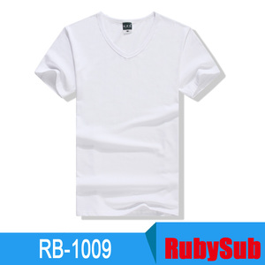 Creative Custom Black And White Stretch Cotton Thermal Transfer V Collar T-shirt RB-1009 To People Gift