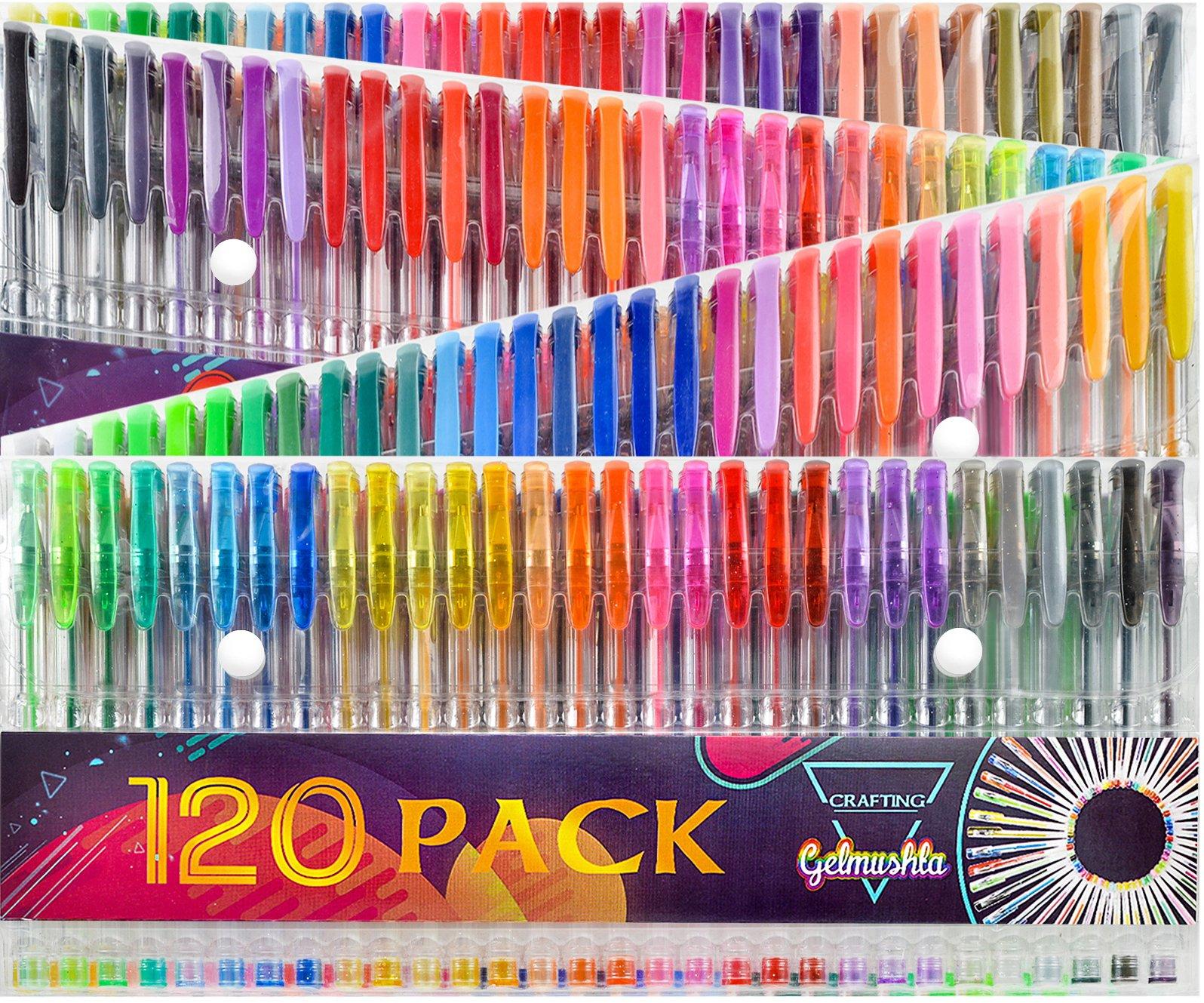 Gelmushta 240 Gel Pens Set (120 Unique Color Gel Pens and 120 Ink Refills) for Adult Coloring Books