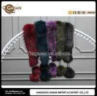 Fashion Trend 5 Colors Real Raccoon Fur Shawl Scarf Collar With 2 Pom Poms