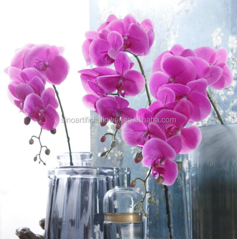 Factory real touch 9 heads artificial orchid flower for wedding decoration