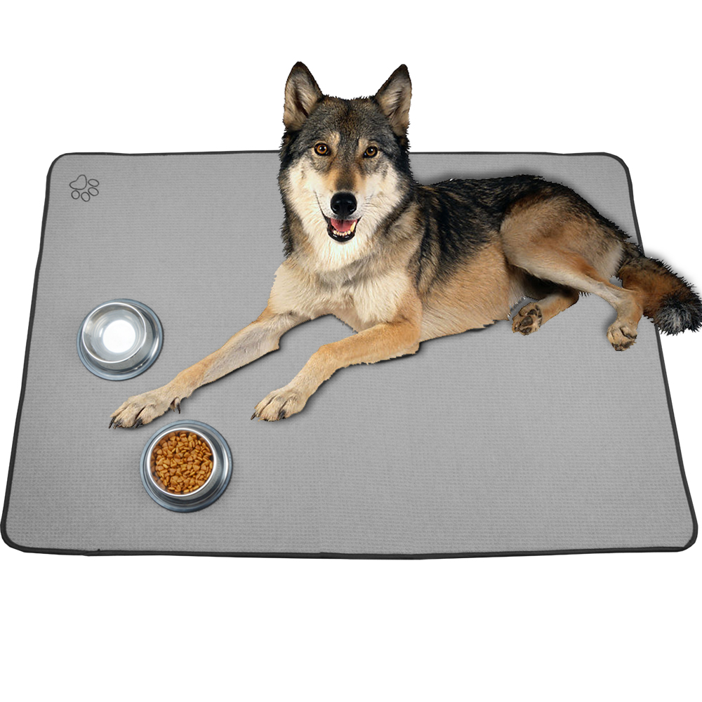 Sunland Wholesale Microfiber Anti-skid Backing Dog Food Dish Drying Mat Pet Bowl Mat