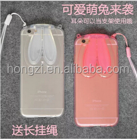 Cute Transparent Silicone Rabbit Ears Lanyard Back Stand Case Cover for iPhone 4 4S 5 5S 6 6 Plus