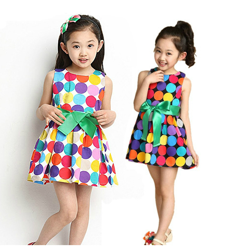 2015 Hot Sale! Summer Princess Children Dress Clothing Baby Girls tutu dresses Kids Colorful Polka Dot Dresses with belt G12