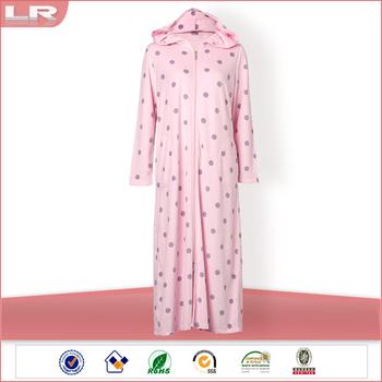Pink Spots Women Fleece Zip Front Dressing Gown - Buy Zip Front ...
