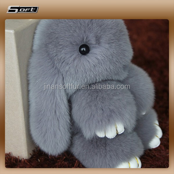 soft cute China keychain manufacture Macaroon Cakes Real <strong>Rabbit</strong> Fur