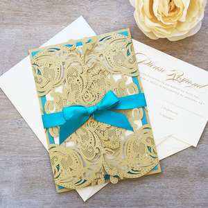 Latest Arabic Laser Cut Customize Muslim Wedding Invitation Cards