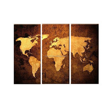 New Arrived High Quality Handmade World Map Oil Painting On Canvas