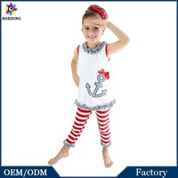 India Fashion Summer Girl Matching Tops And Pants Chevron Dress Girls Boutique Clothing