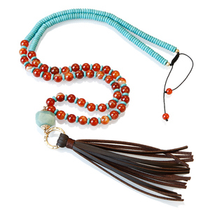 Fashion flat turquoise beads red agate brown leather tassel necklace