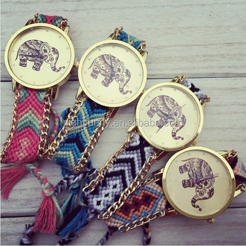 Handmade Braided Elephant Friendship Bracelet Watch Geneva Las Quarzt Watches