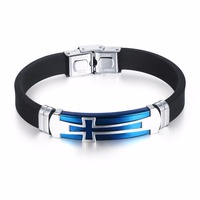 Black/Blue Stainless Steel Silicone Wristband Energy Magnetic Bracelet For Men