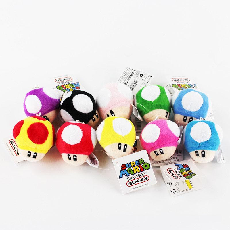 10pcs Set Super Mario Bros Mushroom Pendants Keychain Plush Toy