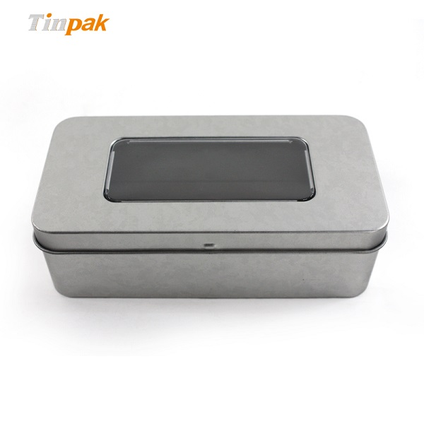 rectangular aluminum tin cookie cans with clear lid