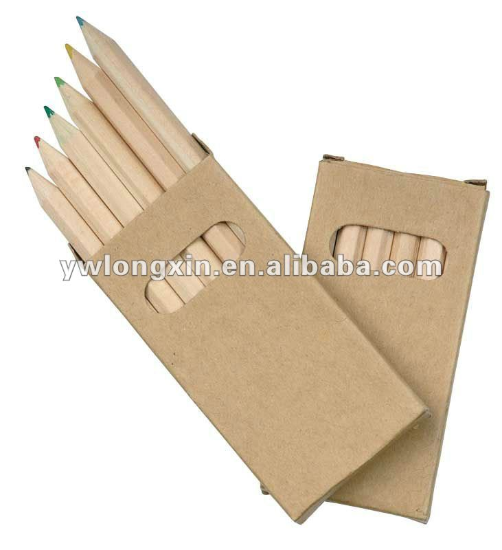 YIWU wooden color case set pencil 3.5''/7''EN71-3,ASTM4236