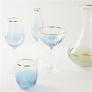 2019 New China Factory Elegant Pink Blue with Gold Rim Wine Glasses Set