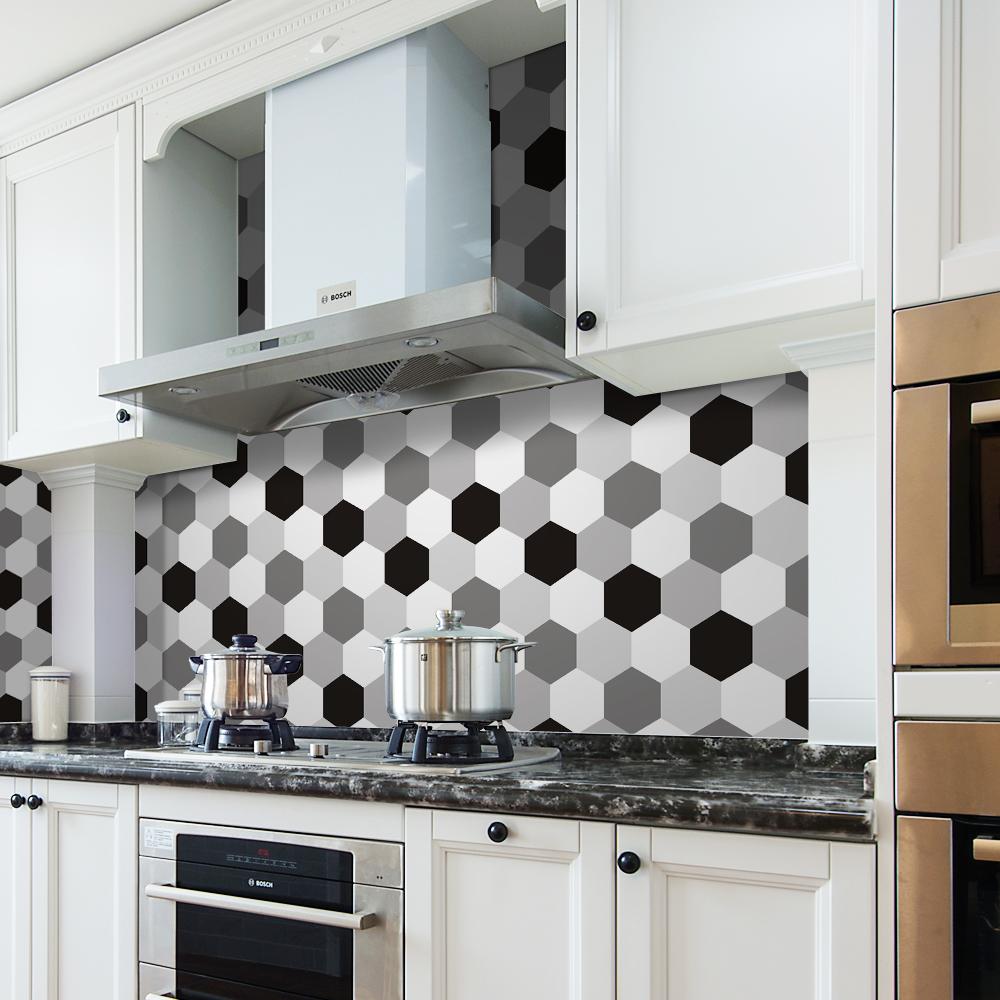 Carrelage Mural Noir Et Blanc Cuisine blanc noir gris hexagone imperméable amovible cuisine carrelage mural  autocollant - buy autocollants pour carreaux muraux kitechen,autocollant de