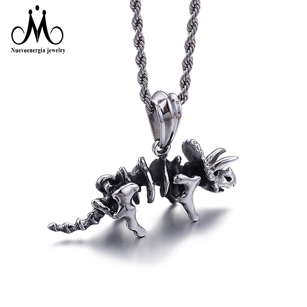 Silver Skeleton Rhino Men Pendant 316L Stainless Steel Jewelry Accessories