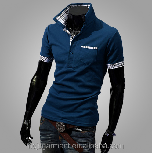 2016 Nieuwe Zomer Herenmode staande kraag pocket Polo t-shirts