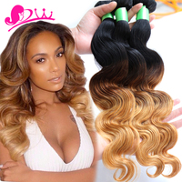 Brazilian Body Wave 4 Bundles 3 Tones Ombre Weave Bundles No Shedding