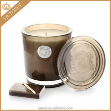 Natural luxury glass jar candle/bougie with lid