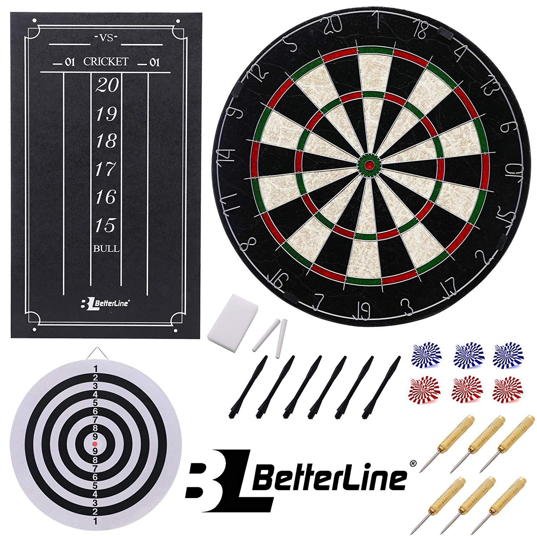BETTERLINE Professional Bristle/Sisal Dart Board Set and Cricket Scoreboard Kit/45 cm (18 Inch) Diameter Wire-Spider Double-Sided Dartboard with Staple-Free Bullseye/6 Darts - by