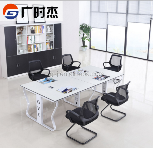 4 People Melamine Office Desk Conference Table