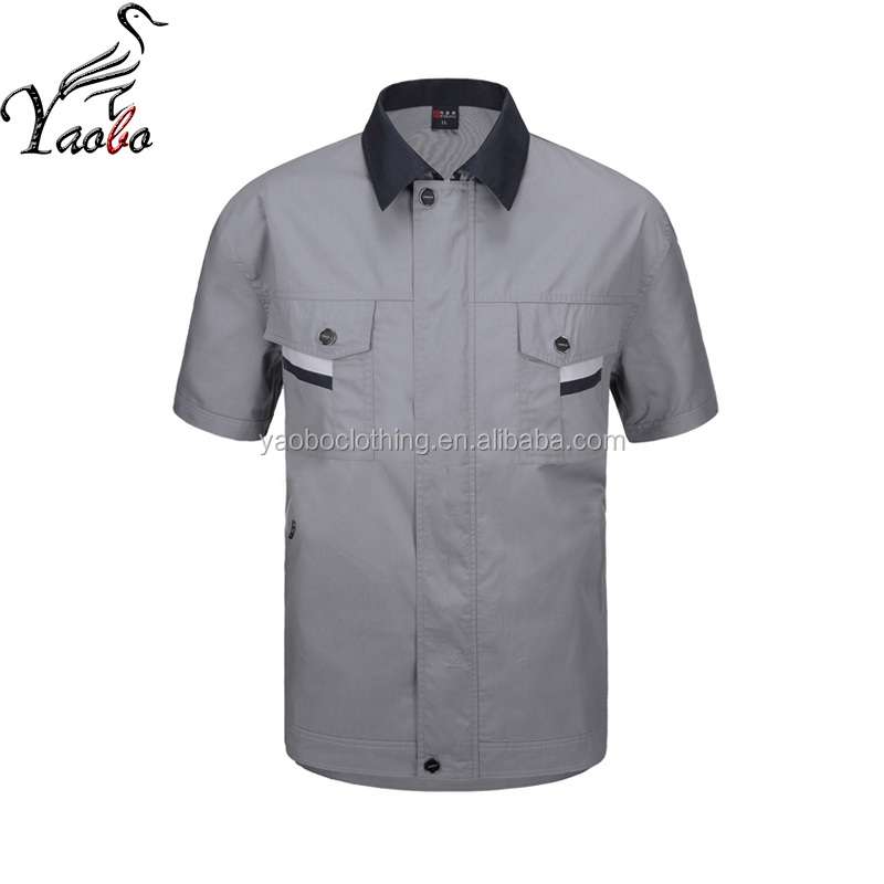 Manica corta durevole grigio abbigliamento da lavoro uniforme con 2 tasca per l'estate
