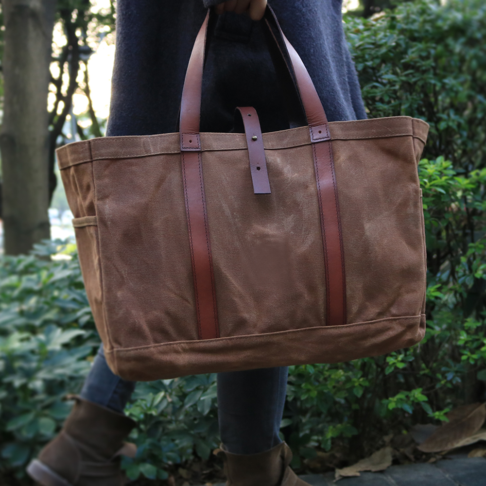 6bf9e76eff04 Personalized Vintage Brown Women's Waxed Canvas Tote Bag with Leather  Handles