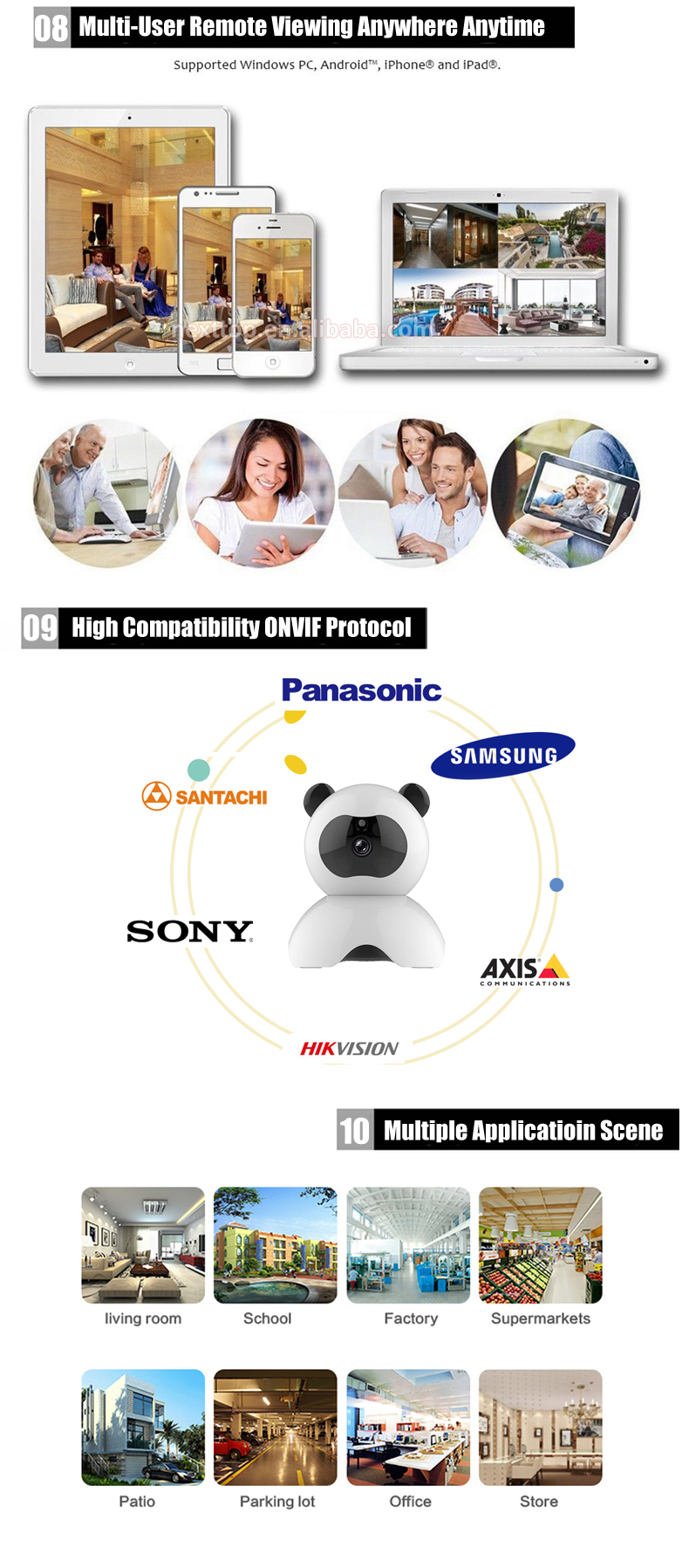 Free Uid Panda Micro Sd Card Slot and Cloud Storage 720P Intelligent Motion Detection P2P Wireless Wifi Ip Camera