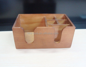 6 Compartment Branded Wood Bar Caddy Organizer