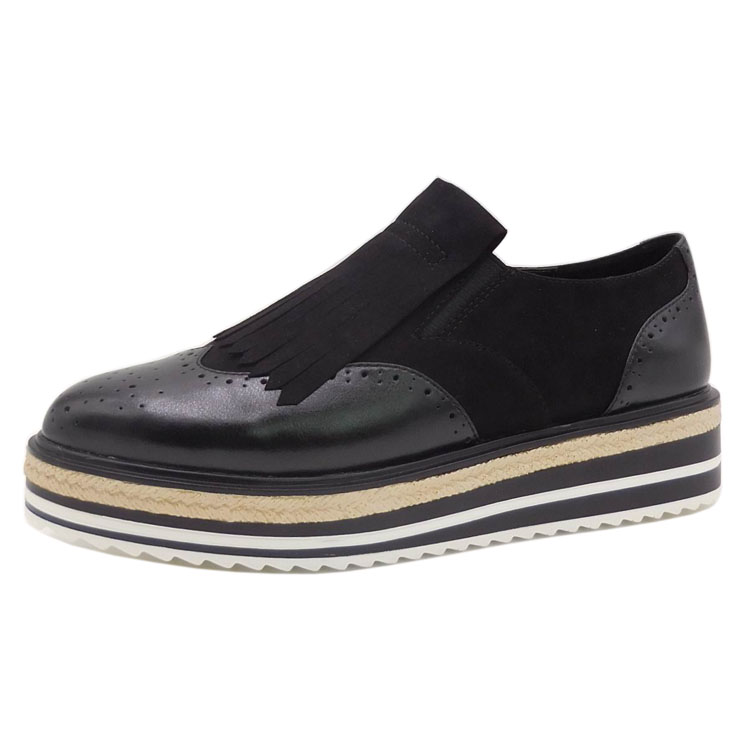 2017 new arrival women platform slip on wingtips rounded toe tassel black oxfords casual shoes