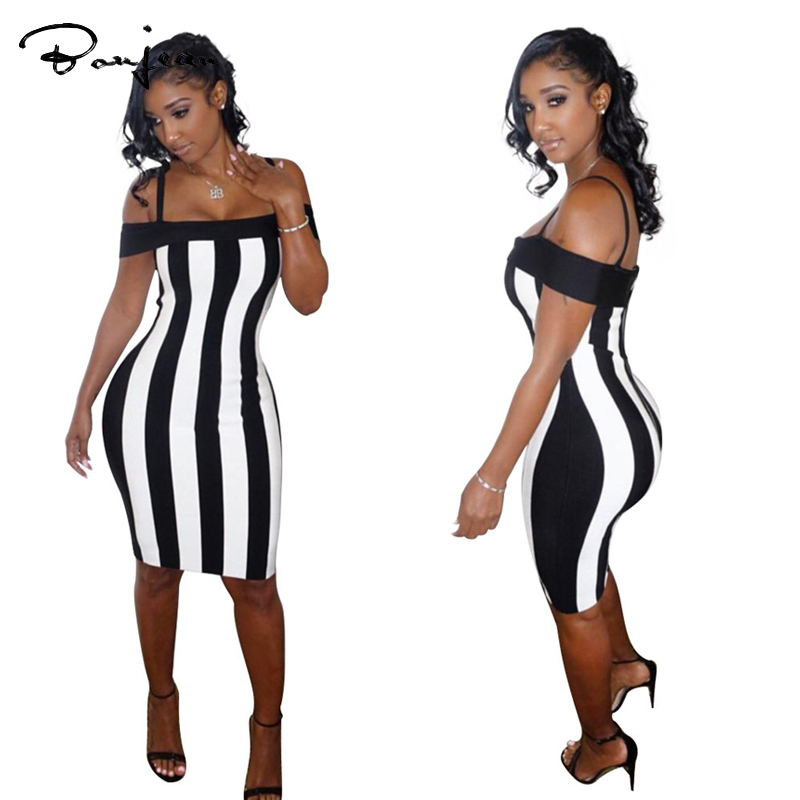 White Black Striped Dress Bandage Bodycon Sheath Off The Shoulder Sexy Club Party Evening Wear Knee Length Dress