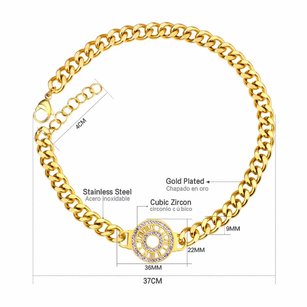 b768c97d6fc3 Nueva llegada Color oro cadena ajustable pulsera de números romanos Pulseras  Mujer joyería personalizada