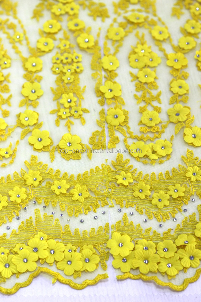 Bead embroidery d lace fabric flower