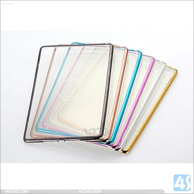Electroplate Gold Color Bumper PC TPU Clear Case for Apple iPad Mini 4