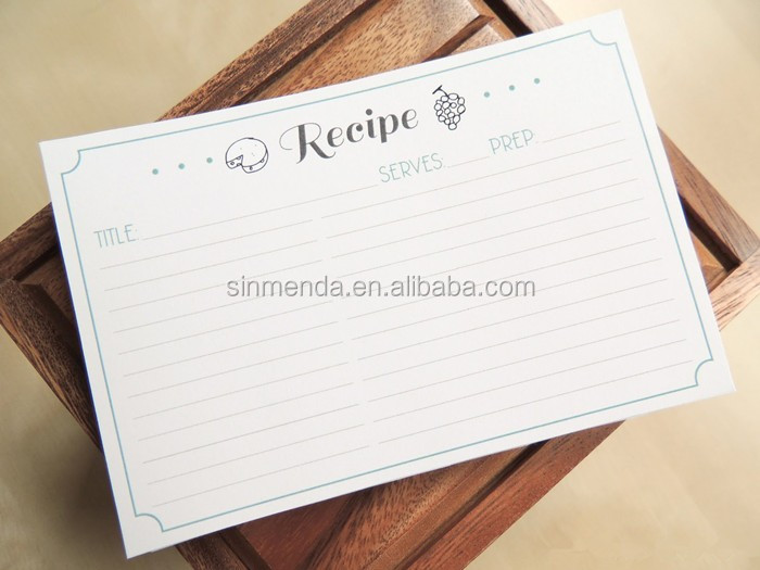 Wholesale double sides printing recipe card , kitchen divider print card