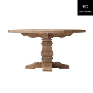 French Style Wooden Antique Round oak wood Dining Table and chair Sets