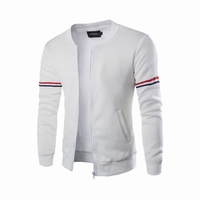 Mens Zipper Coat Two Color Blocked Lightweight Fleece Jacket