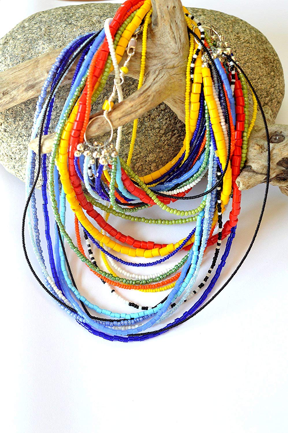 African necklace, Statement necklace, Bohemian necklace, African necklace for women, Gift for her, Birthday gift women, Colorful necklace, Beaded necklace, Tribal necklace, Layered necklace long