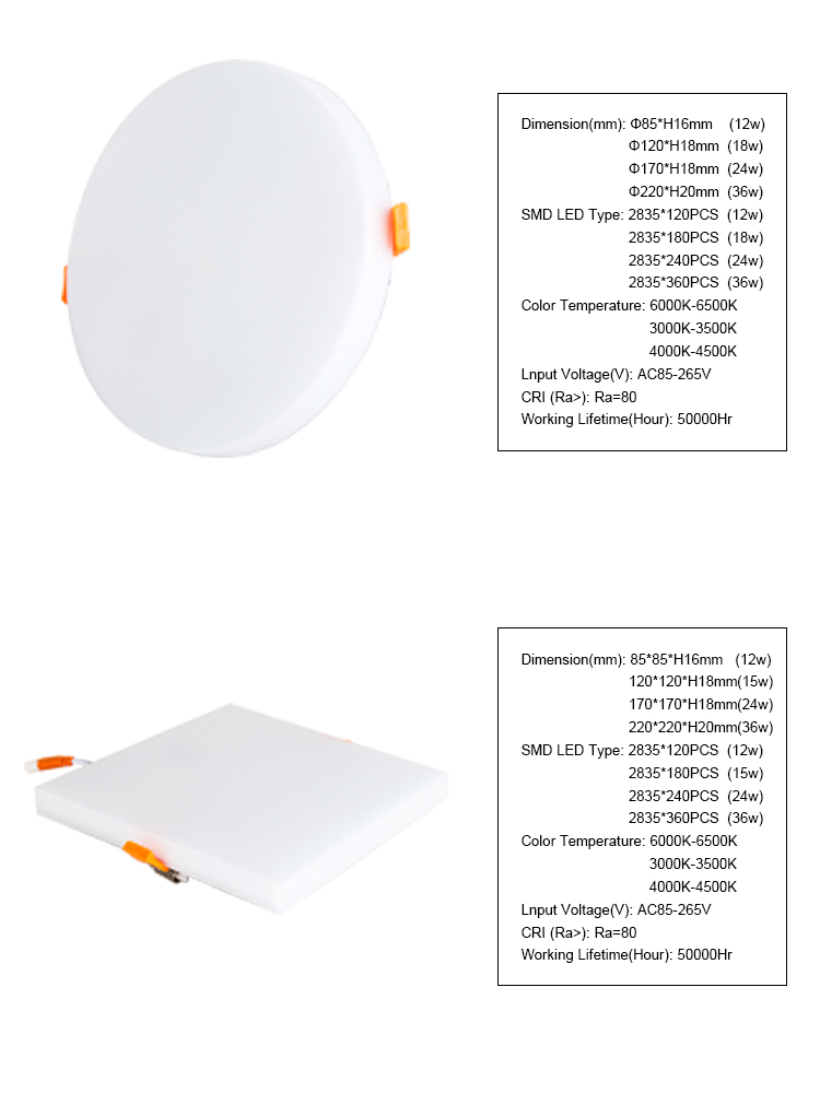 2019 New design 12w 18w 24w 36w Ac85-265 Round Square Recessed Thin Ceiling Frameless LED Panel Light
