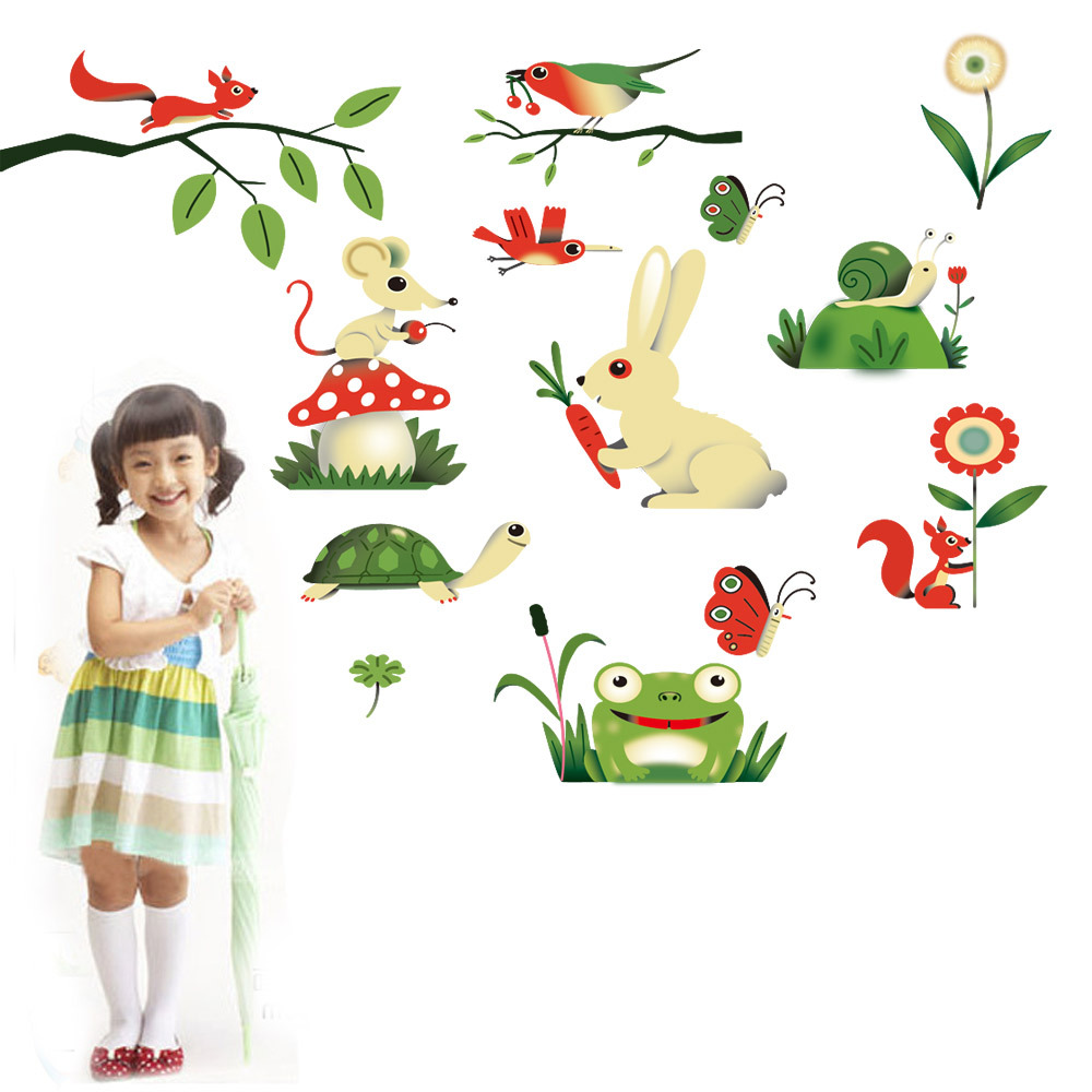 DIY Cartoon Animal Nature 100% PVC Removable Wall Stickers For Kids Children Girls  Room Home Decoration Poster Sticker WS081