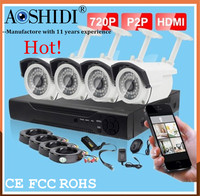 Cheap outdoor using bullet camera 4ch DVR CCTV security recording system kit,1 megapixel digital cameras system
